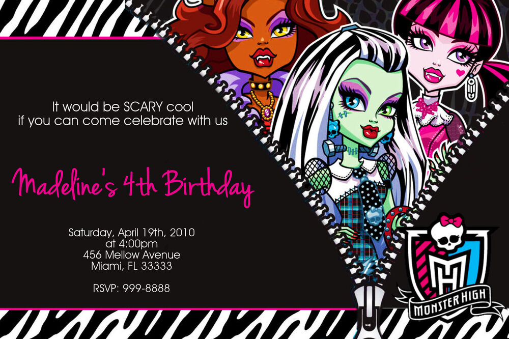 monster high invitations  ebay, Birthday invitations