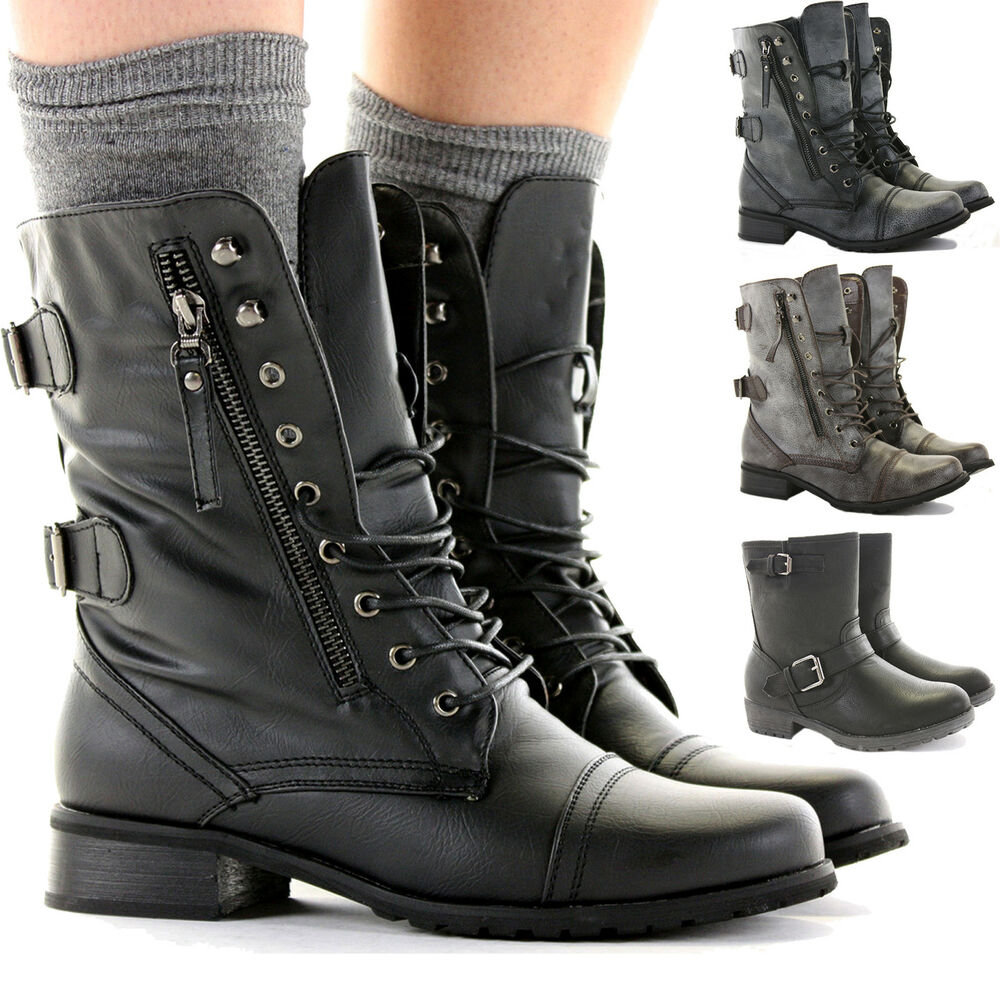 With military inspired women's combat boots from JustFab, you can explore all of your many complex and fun fashion identities. Look for a dressier fold over style in black accented with shiny buckles and straps and become a sophisticated debutante.
