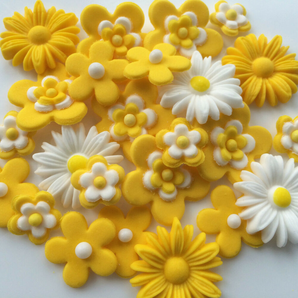 Cake Decorating How To Make Daisies : LOVE YELLOW edible sugar paste flowers daisies birthday ...