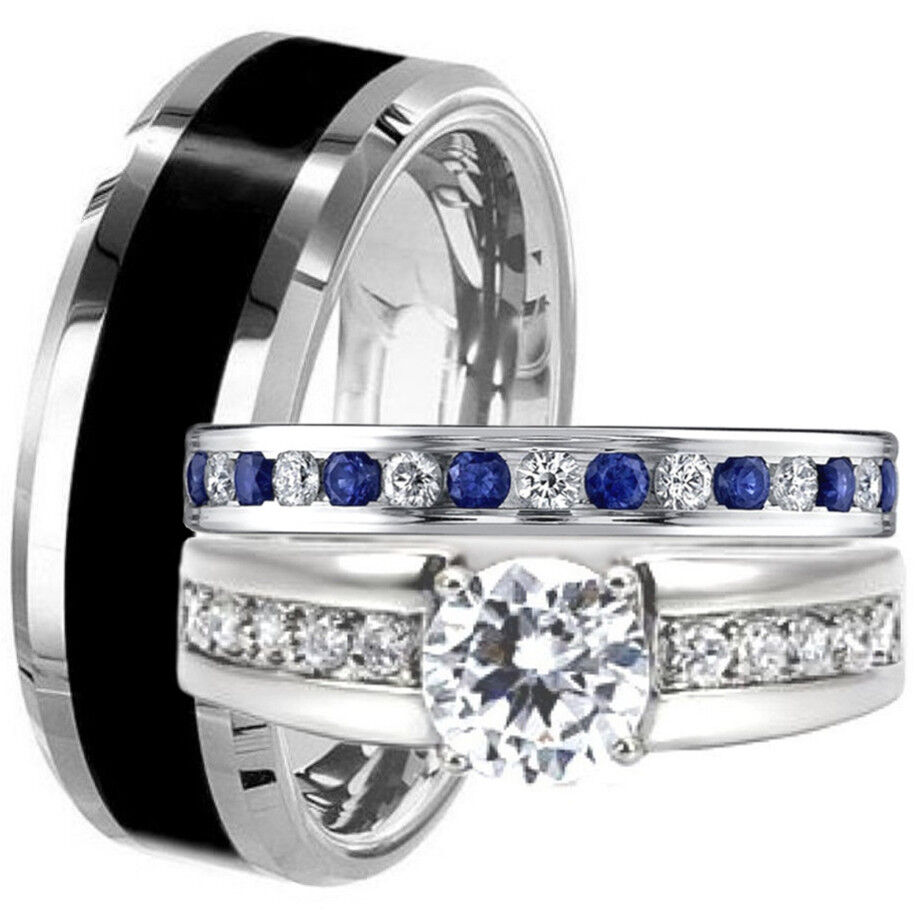 Black TUNGSTEN & STAINLESS STEEL His Hers Blue Sapphire CZ WEDDING BAND R