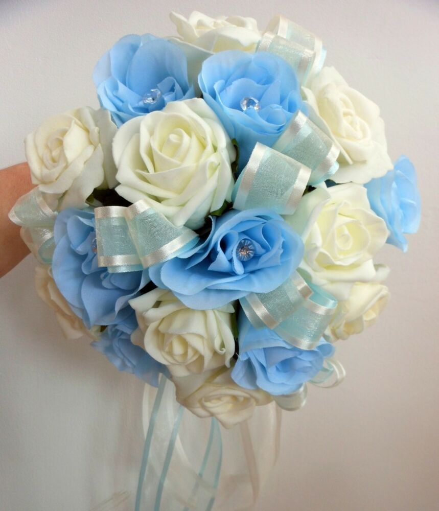 Bridesmaids wedding bouquet baby blue silk and ivory foam roses with