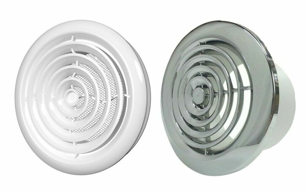 Internal ventilation grille round chrome or white duct for 6 bathroom extractor fan
