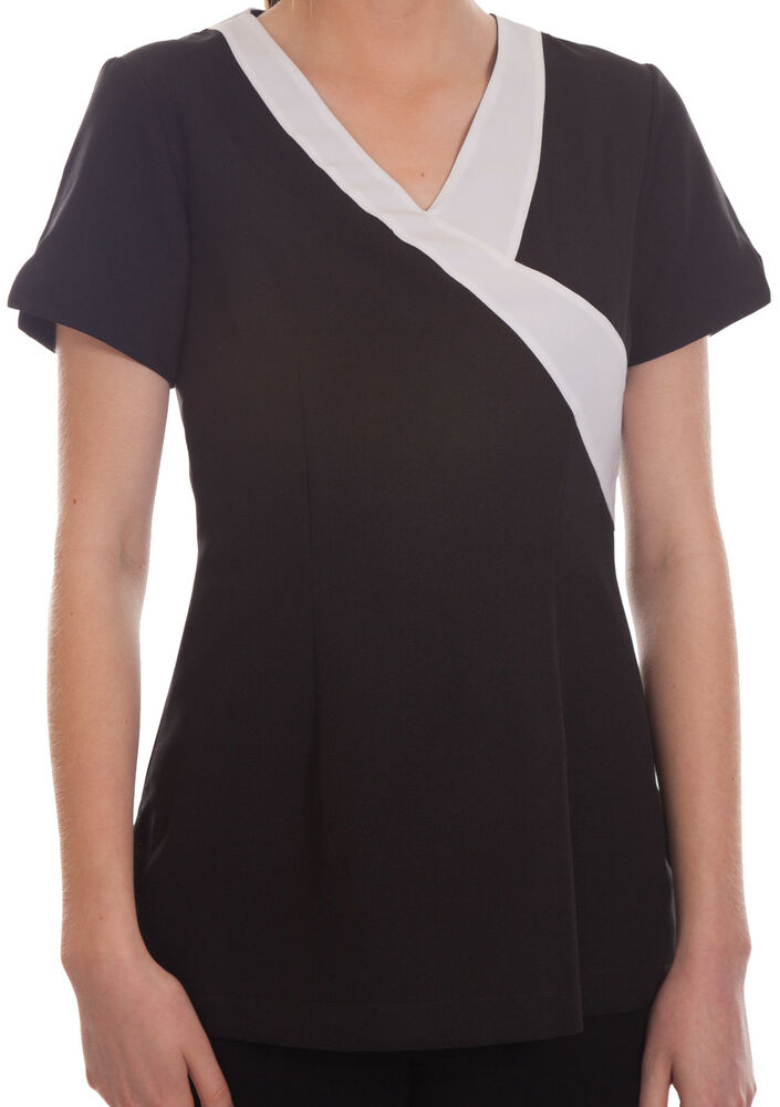 Sally black salon spa beauty beautician hairdressers for Spa uniform black