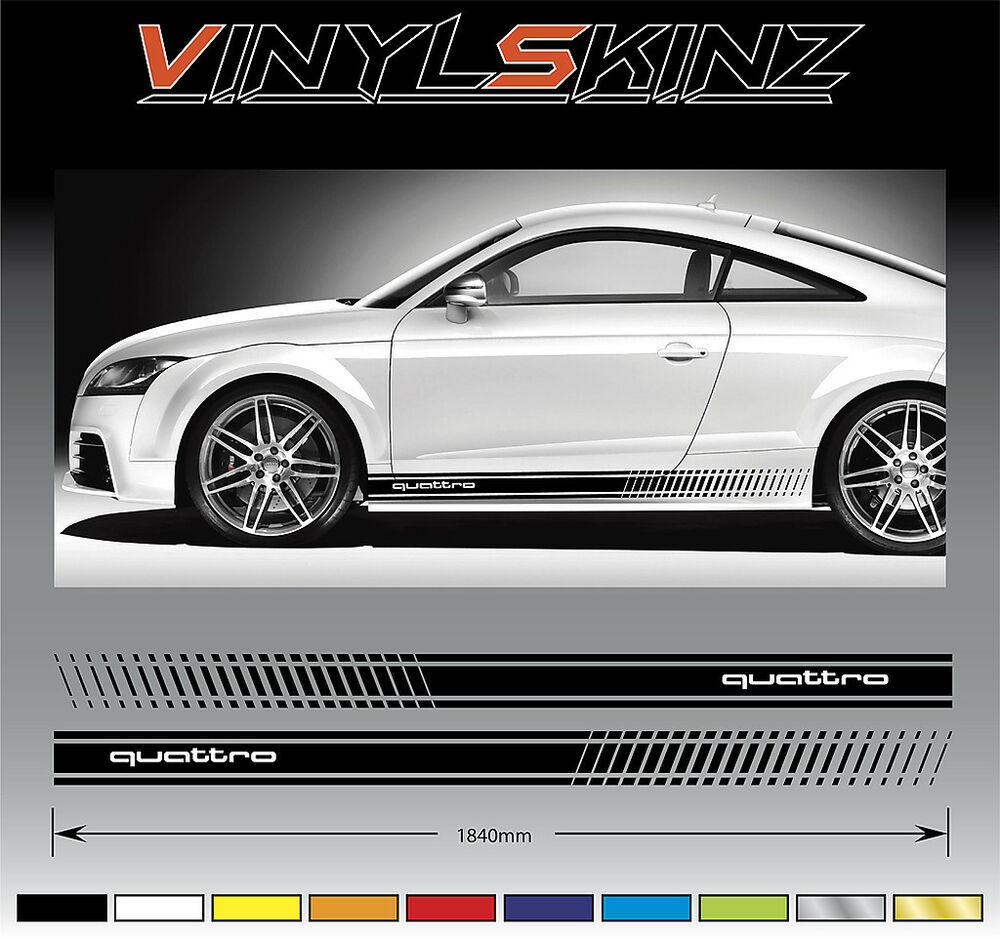 AUDI Quattro Premium Side Stripes Decals Graphics Stickers TT RS A3 A4 Q5 R8 02 | eBay