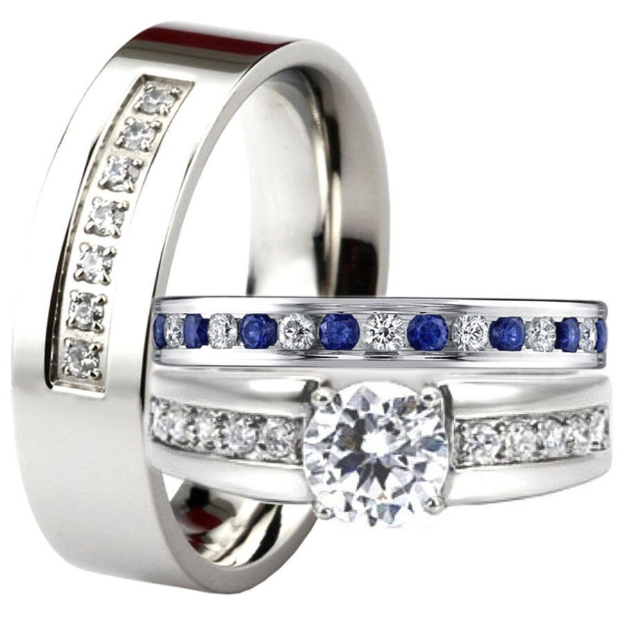 His and hers blue sapphire cz engagement ring wedding band for Wedding bands and engagement ring sets