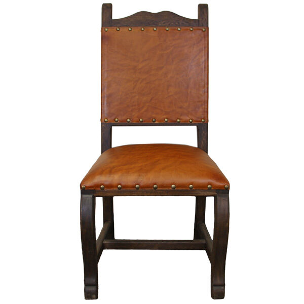 Real leather seat back dining chair rustic western cabin for Wood and leather dining chair