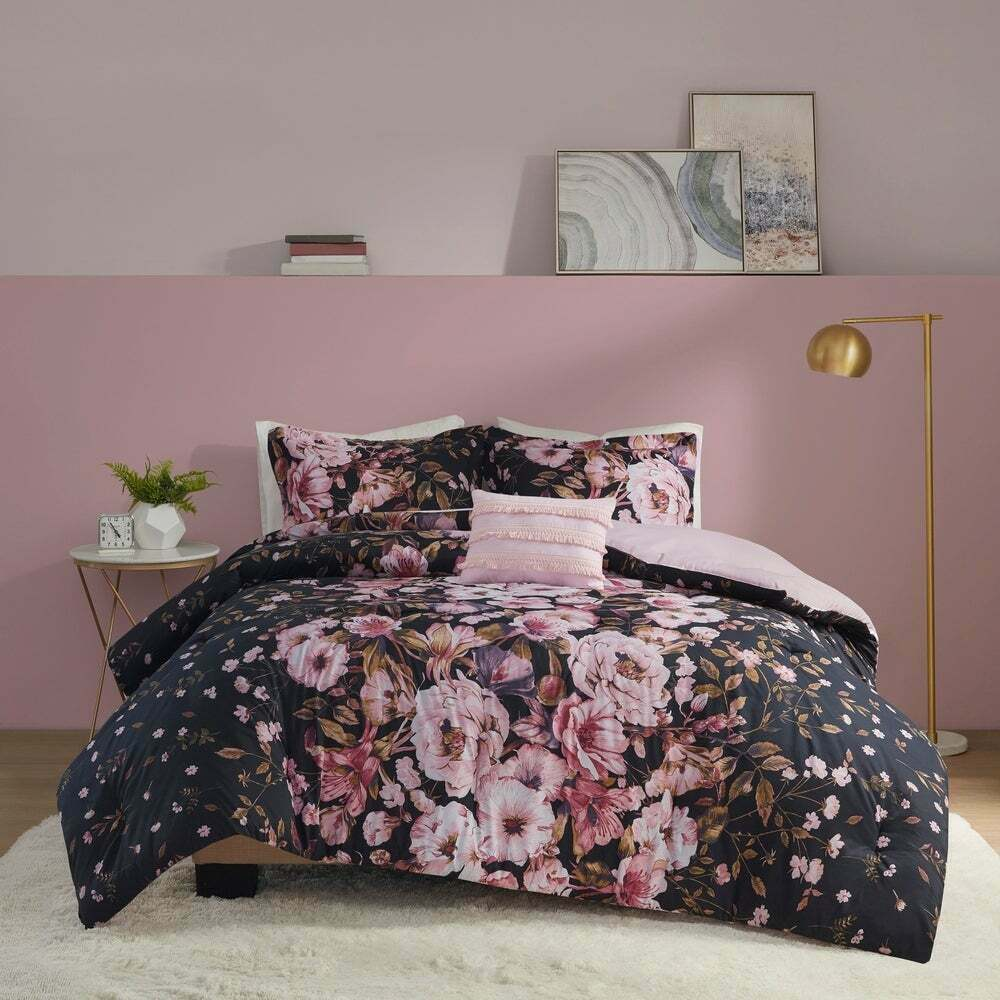 Beautiful modern elegant black white grey comforter set cal king queen szs ebay for Beautiful bedroom comforter sets