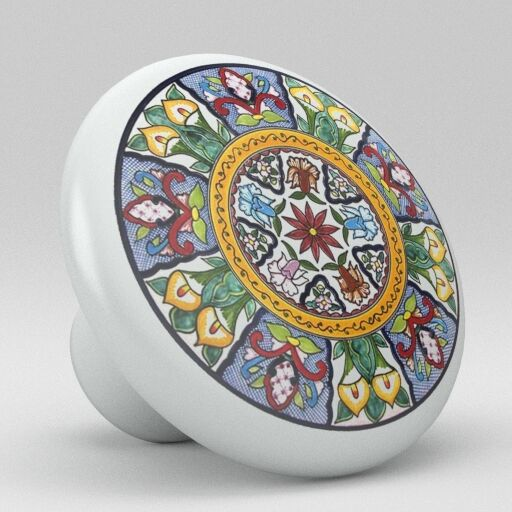 Round Talavera Design Ceramic Knobs Pulls Kitchen Drawer