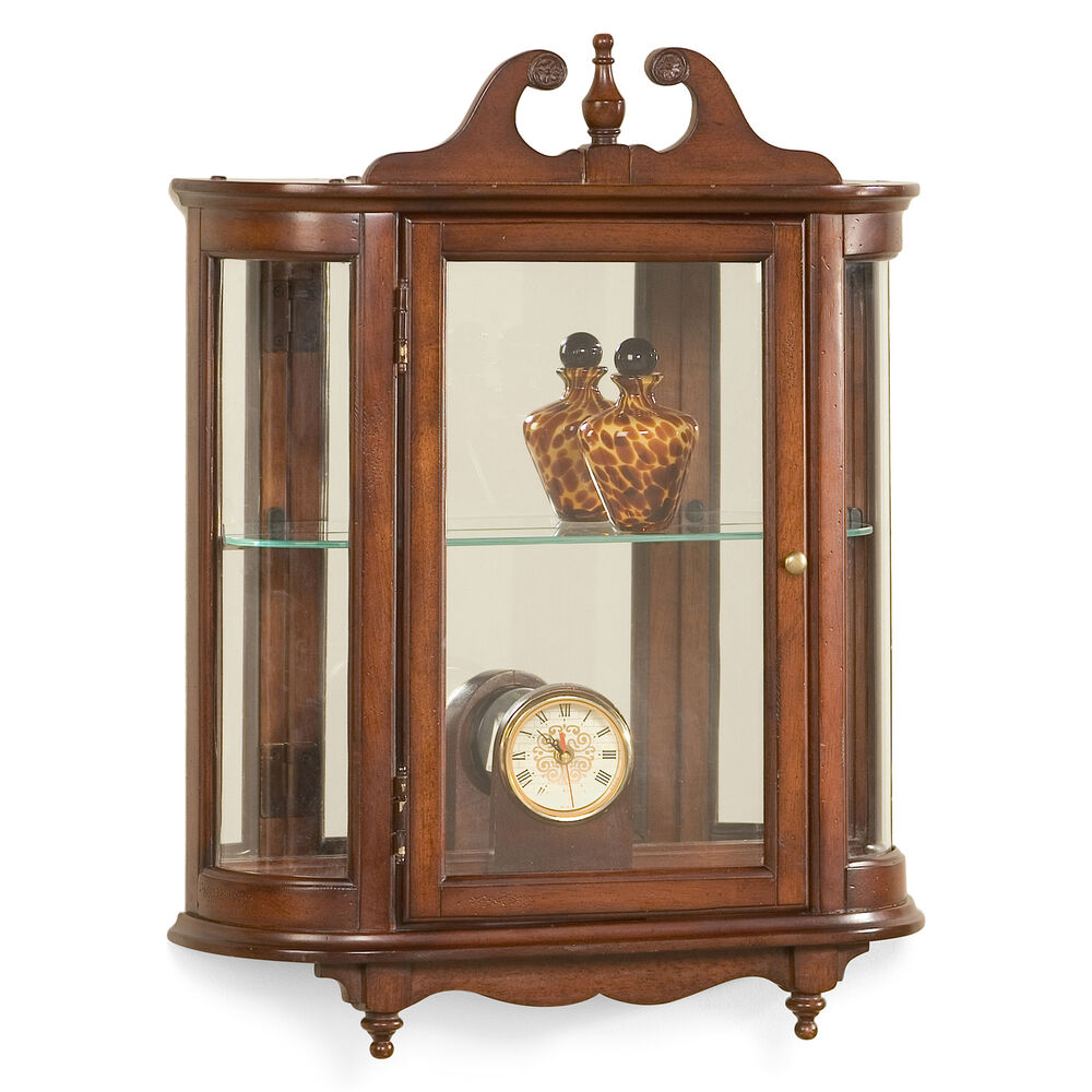 westbrook wall mounted curio cabinet plantation cherry. Black Bedroom Furniture Sets. Home Design Ideas