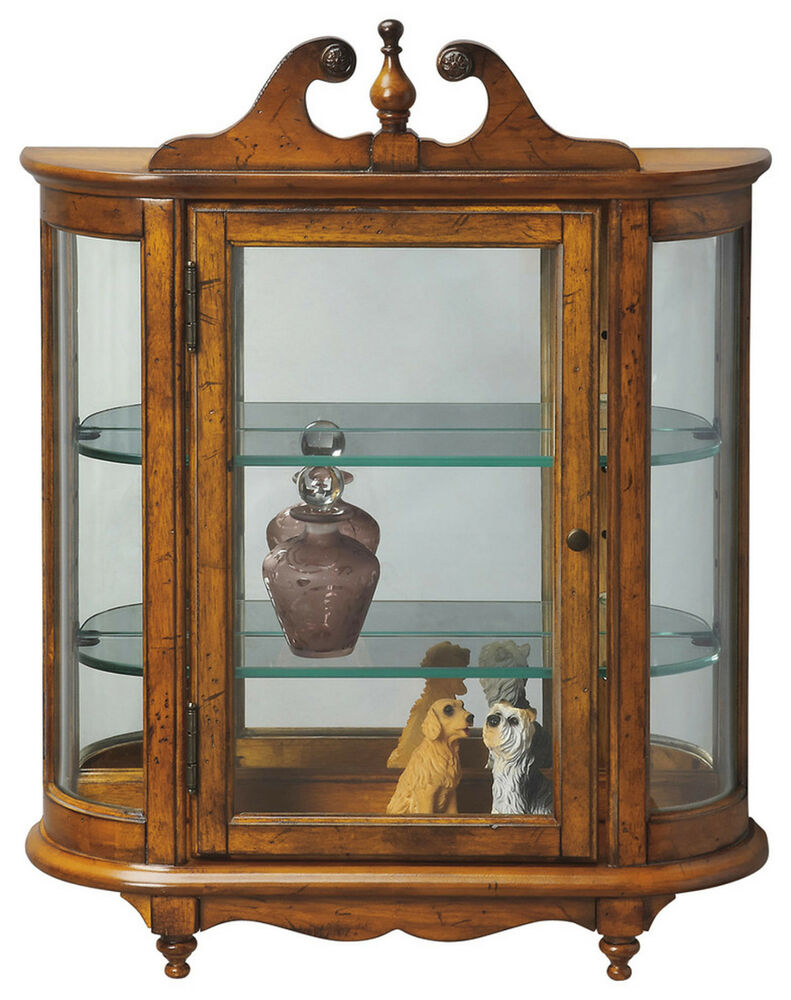 wall curio cabinet westbrook wall mounted curio cabinet vintage oak finish 28051