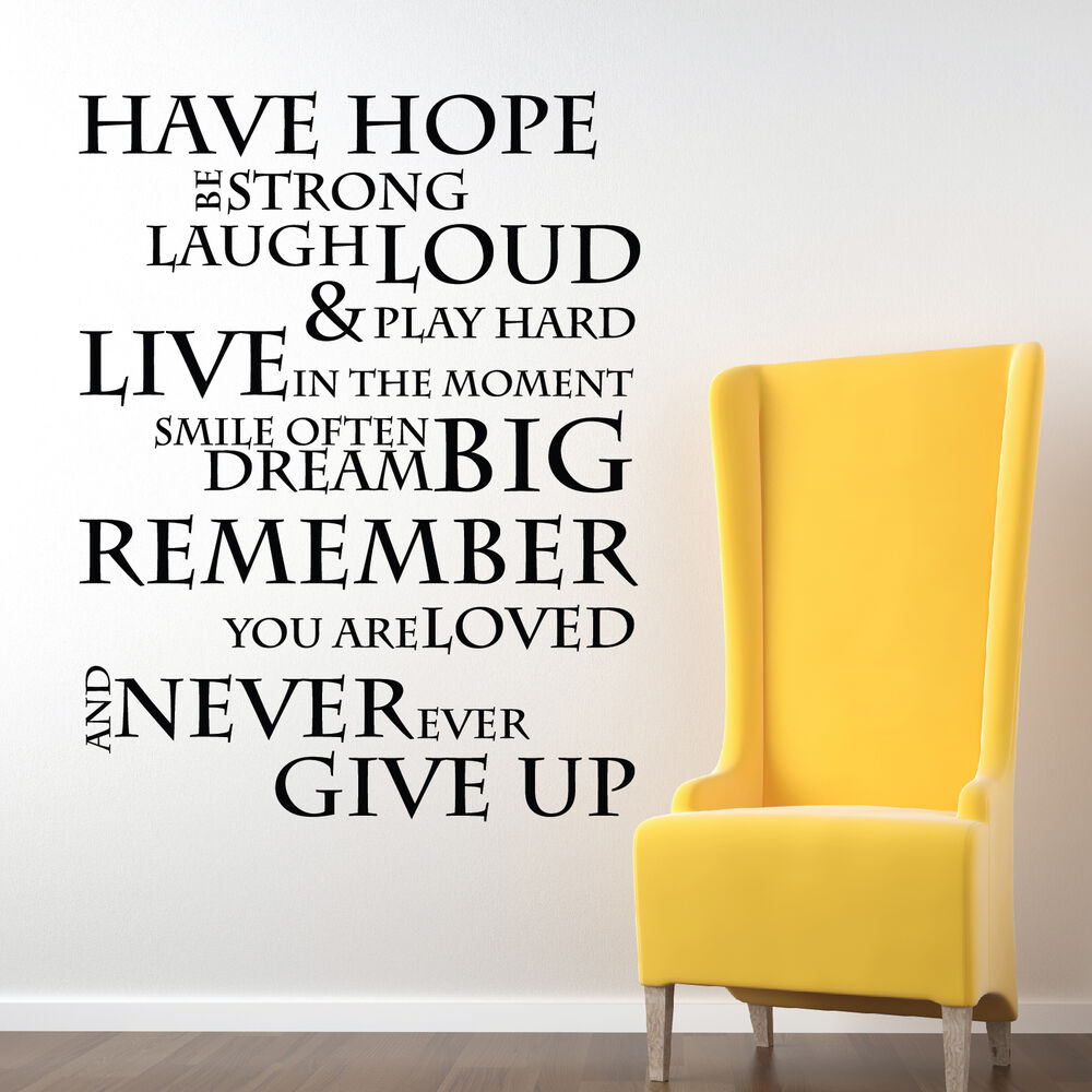 Positive Quotes Wall Art : Have hope inspirational wall stickers quotes decals