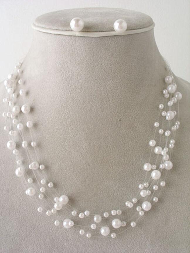 Beach Bridal Party Faux White Pearl Floating Illusion