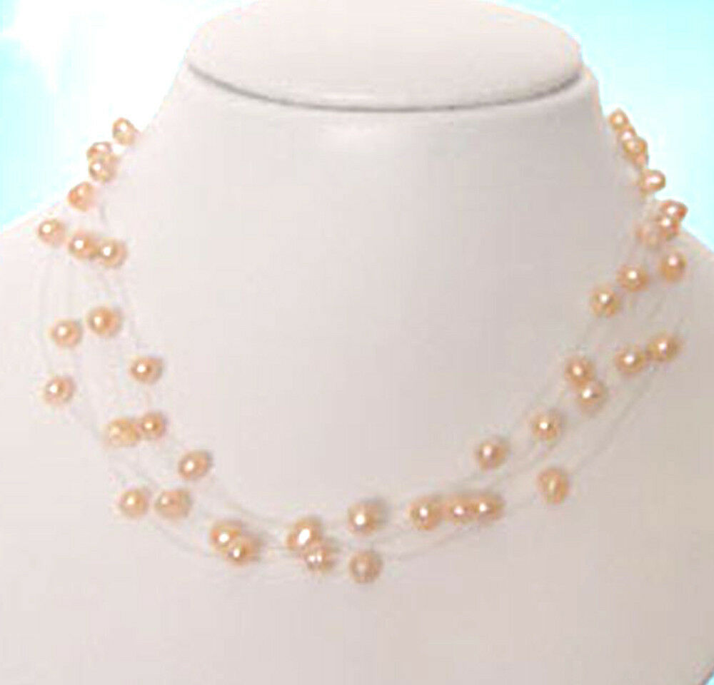 Genuine 5 6mmm Pink Pearl Illusion Floating Station Necklace Ebay
