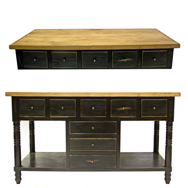 Black Kitchen Island Uk: Distressed Black Kitchen Island Wood Block Top Rustic