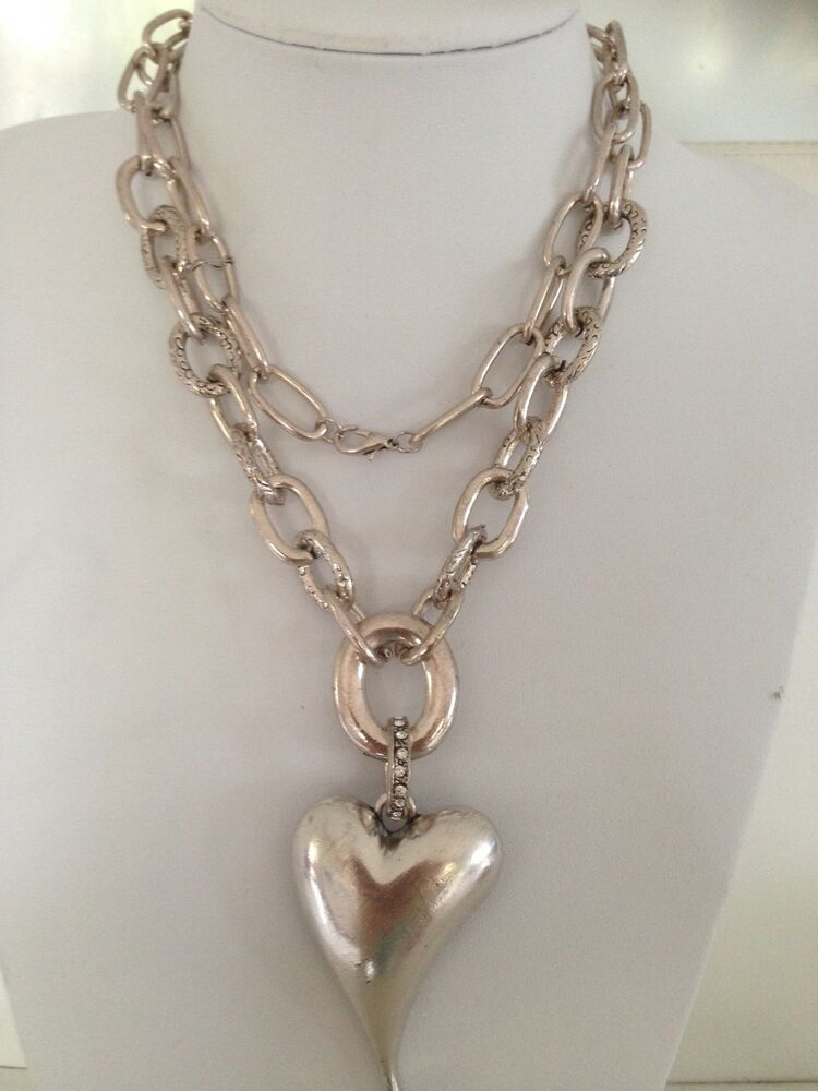 Free Shipping Vintage Antique Silver Plated Long Chain Heart Necklace Ebay