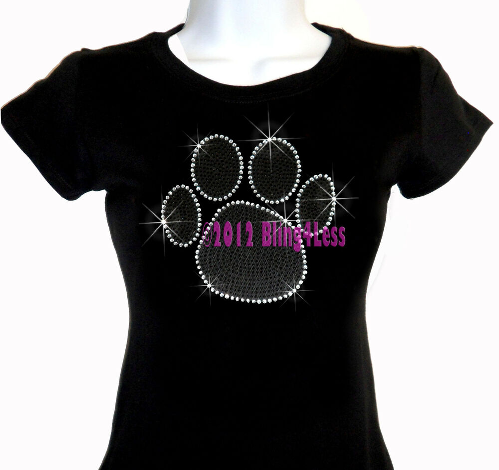 large black paw print iron on rhinestone t shirt bling