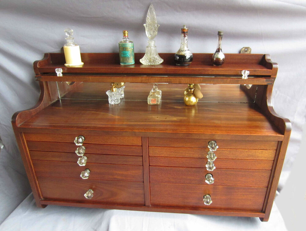 Rare antique solid walnut wood dentist wall cabinet for Solid wood jewelry chest