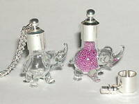 1 Glass ELEPHANT tiny little animal bottle vial necklace pendant Screw Top