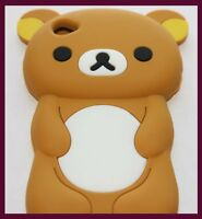 for iPod Touch 4th Gen - Brown Adorable Teddy Bear Soft Silicone Skin Case Cover