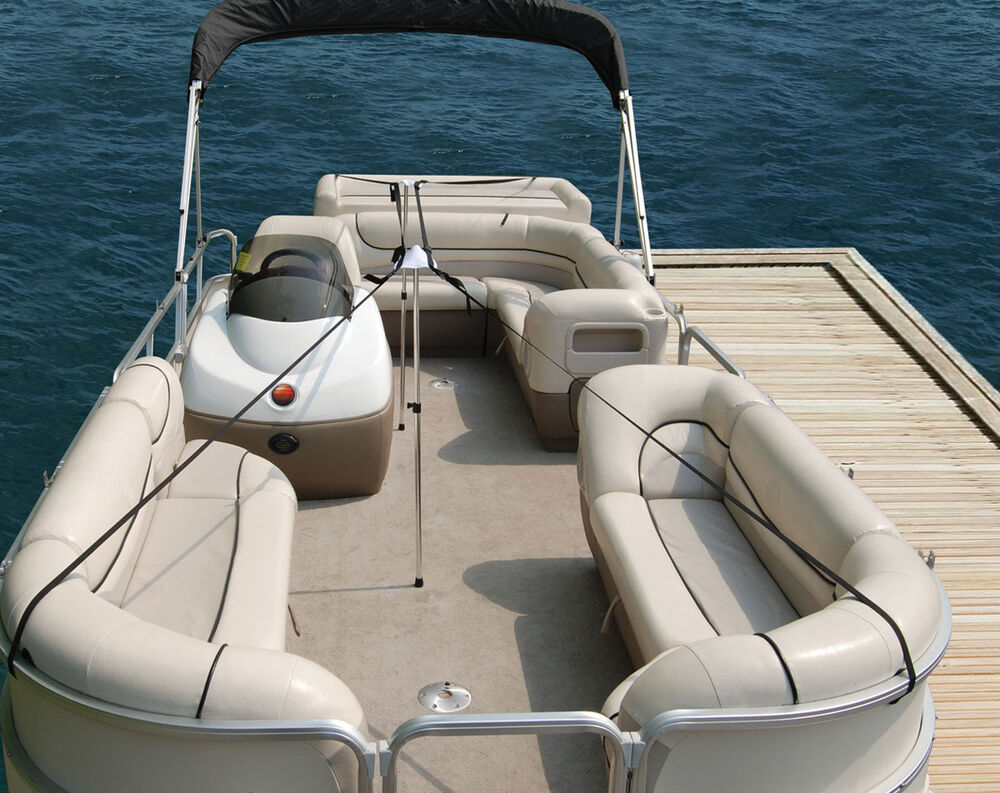 Pontoon Boat Cover 2pc Support Pole System w/ straps fits ...
