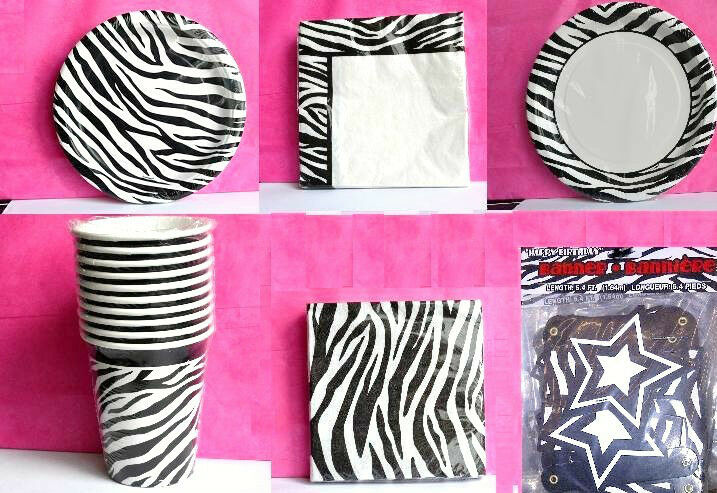 Zebra chic stripe animal print party supplies you make for Animal print party decoration ideas