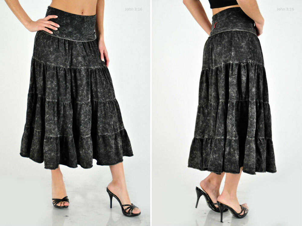 mineral wash bohemian style shirring cotton skirt mid