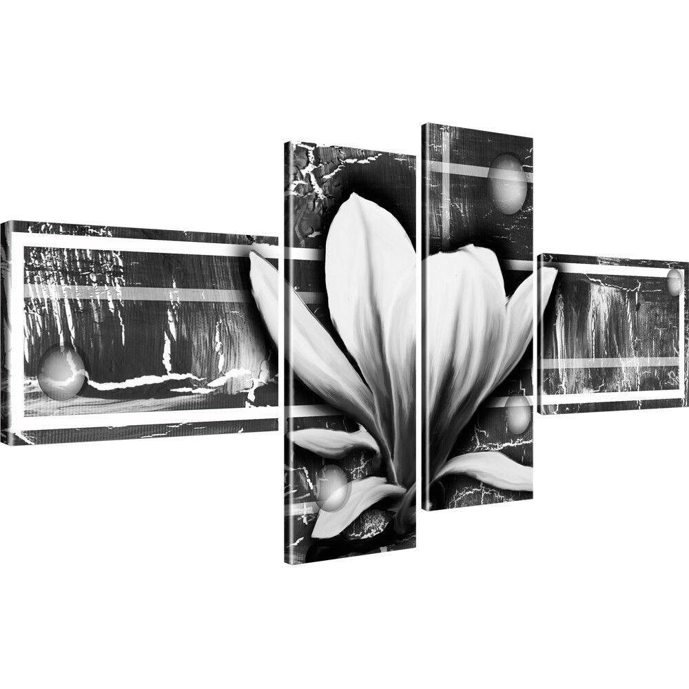magnolie blume schwarz weiss bilder auf leinwand fotodruck ebay. Black Bedroom Furniture Sets. Home Design Ideas
