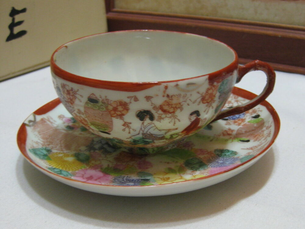 Antique Hand Painted Tea Cups Made In Japan