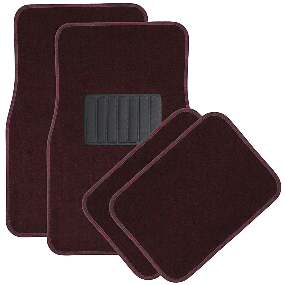 Car Floor Mats For Auto 4pc Carpet Semi Custom Fit Heavy Duty W Heel Pad Red Ebay