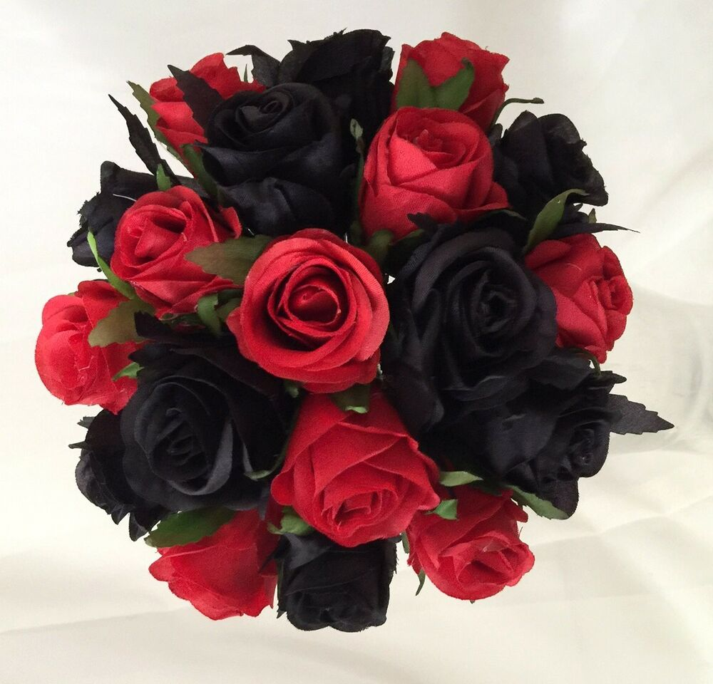 Silk wedding bouquet red and black roses pre made posy for How to make black roses
