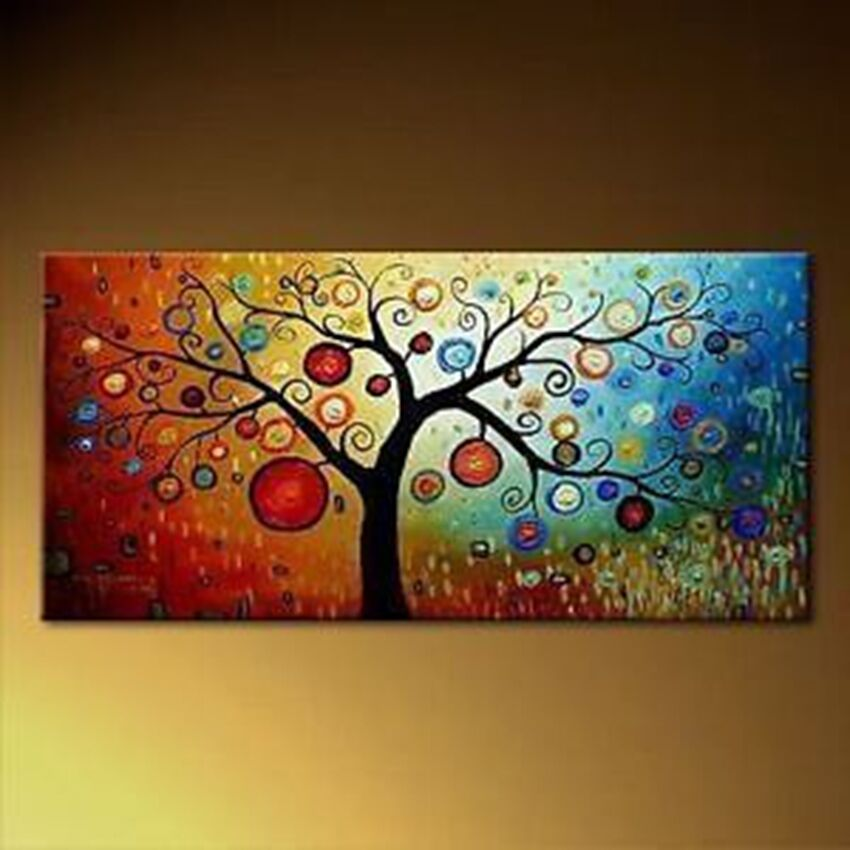 modern abstract huge canvas wall oil painting tree 48x24. Black Bedroom Furniture Sets. Home Design Ideas
