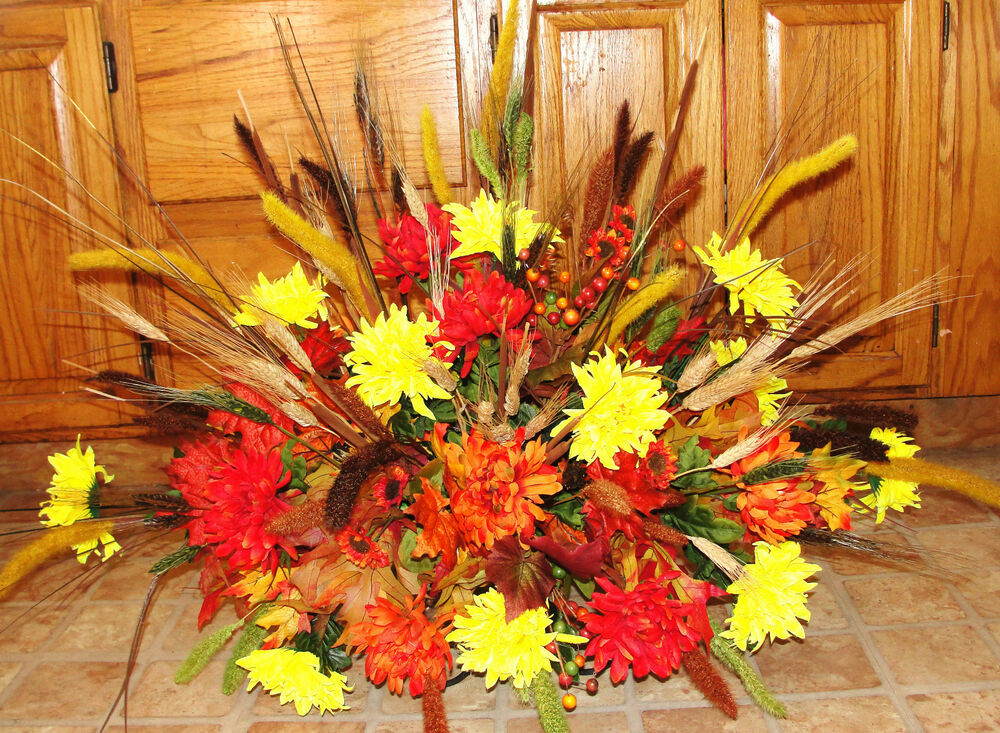 Fall Colors Mums Memorial Funeral Cemetery Grave Tombstone