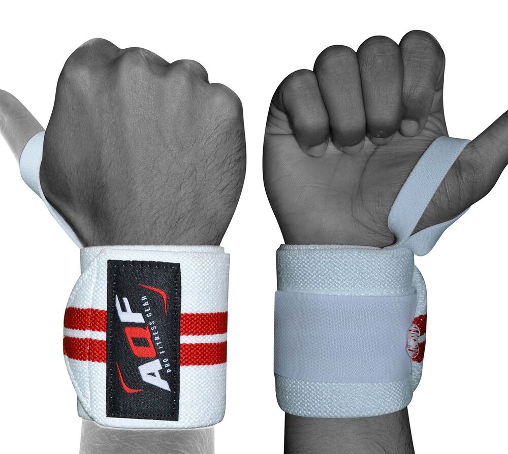 Dam Weight Lifting Gym Gloves Body Building Workout White: AQF Power Weight Lifting Wrist Wraps Supports Gym Training