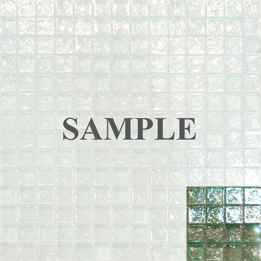 Sample Green Brown Crackle Glass Subway Mosaic Tile: Sample-Mint Green Iridescent Glass Mosaic Tile Backsplash
