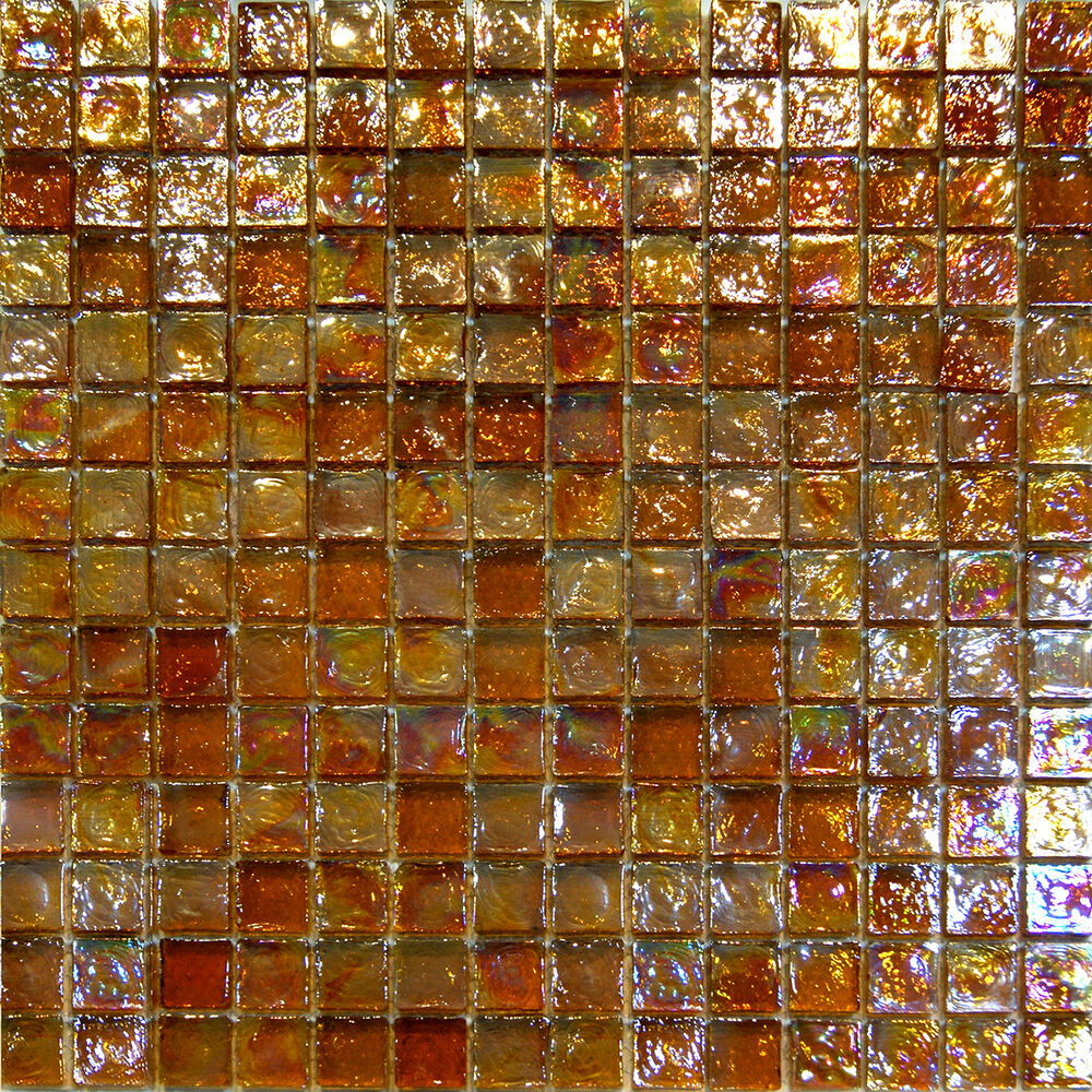 Sample golden brown iridescent glass mosaic tile backsplash kitchen spa sink ebay Backsplash mosaic tile