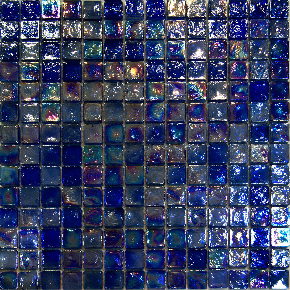 Sample-Blue Iridescent Glass Mosaic Tile Kitchen Backsplash Spa Sink ...