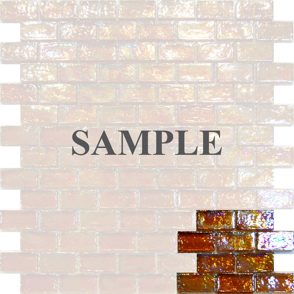 Sample Golden Brown Iridescent Subway Glass Mosaic Tile Backsplash Kitchen Spa Ebay