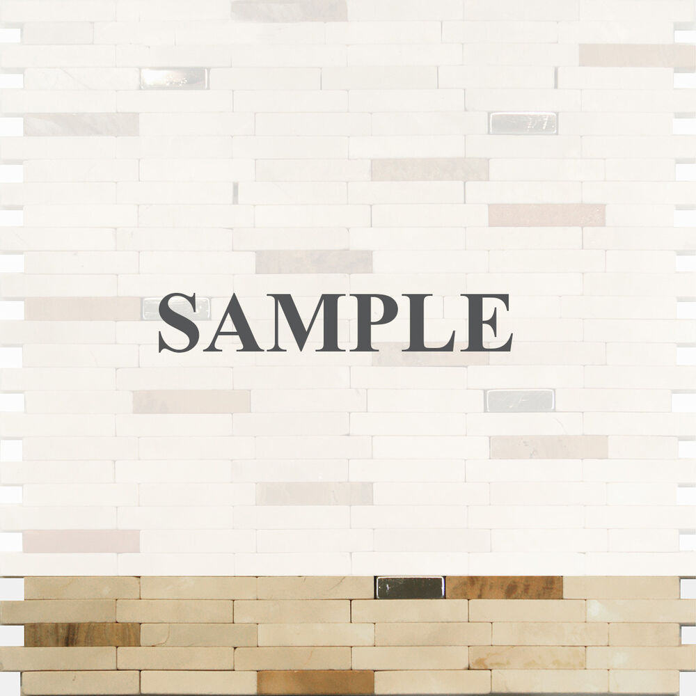 Sample stainless steel insert marble stone beige mosaic tile backsplash kitchen ebay Backsplash mosaic tile