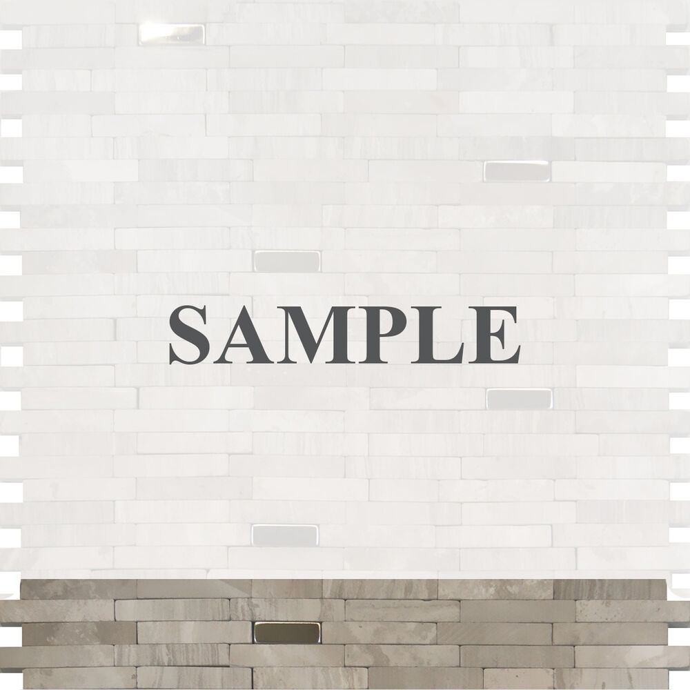 Grey Kitchen Marble: Sample-Stainless Steel Insert Gray Marble Stone Mosaic