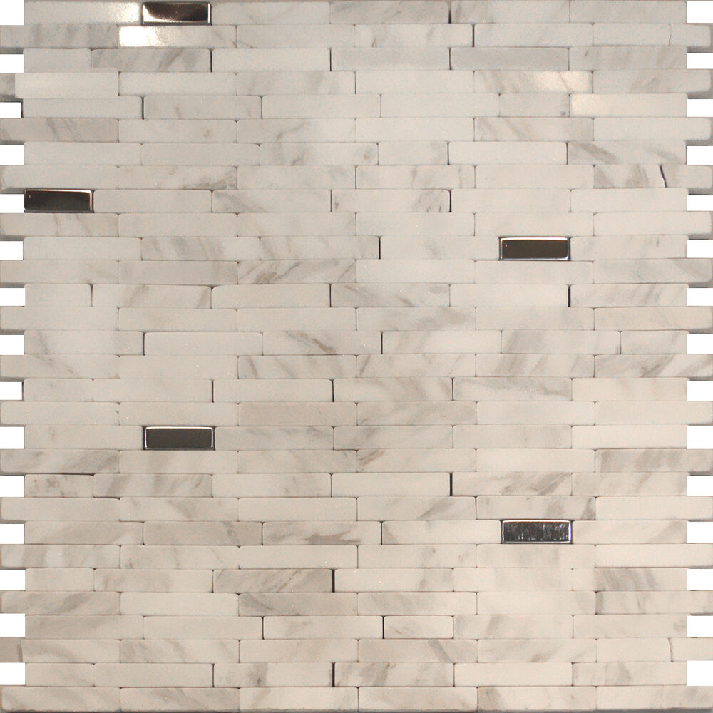 White Backsplash Tiles: Sample-Stainless Steel Carrara White Marble Stone Mosaic