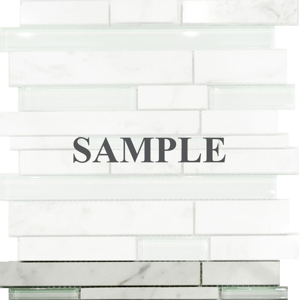 Sample Marble Green Brown Glass Linear Mosaic Tile: Sample-Carrara White Marble & Mint Glass Random Linear