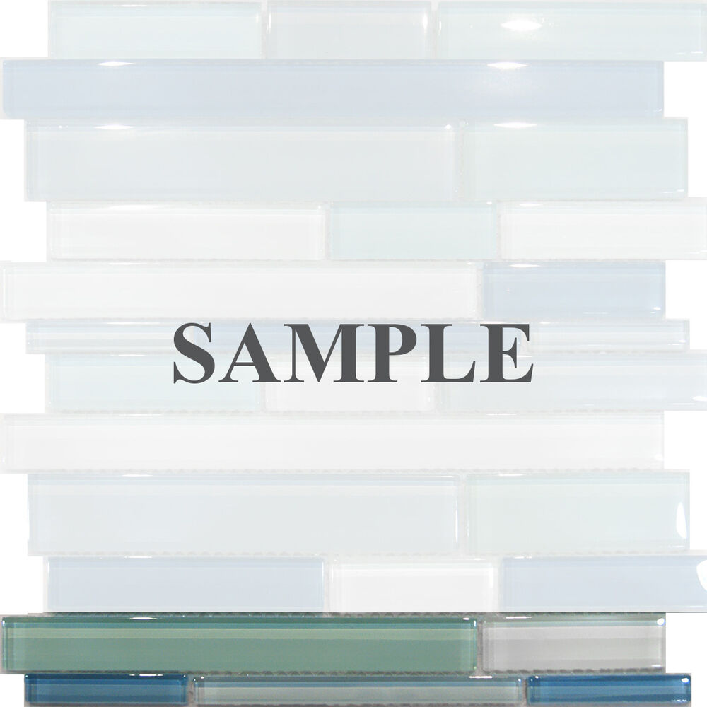 Sample Marble Green Brown Glass Linear Mosaic Tile: Sample-Blue Random Linear Glass Mosaic Tile Kitchen