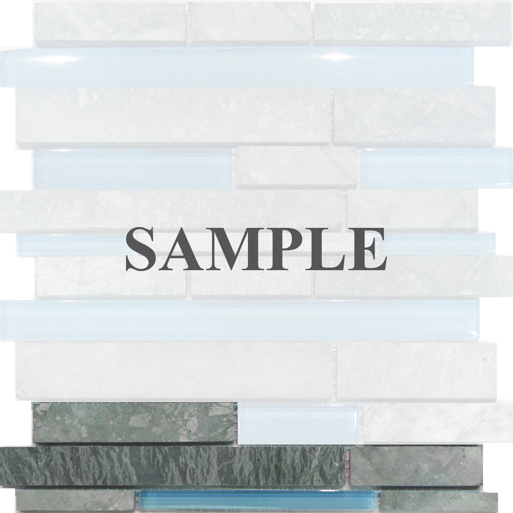 Sample Marble Green Brown Glass Linear Mosaic Tile: Sample-Marble Stone & Blue Glass Random Linear Mosaic Tile
