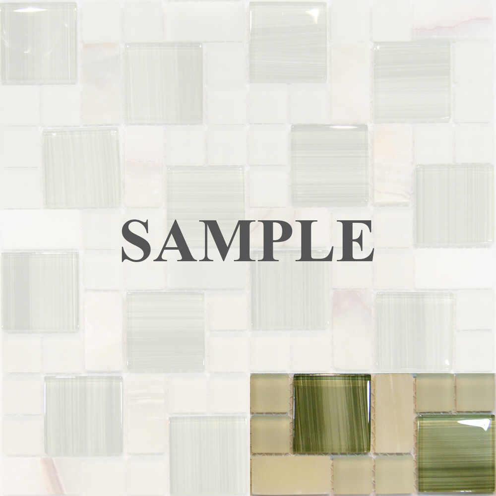 Green Onyx Marble Tile : Sample square pattern green hand painted glass honey
