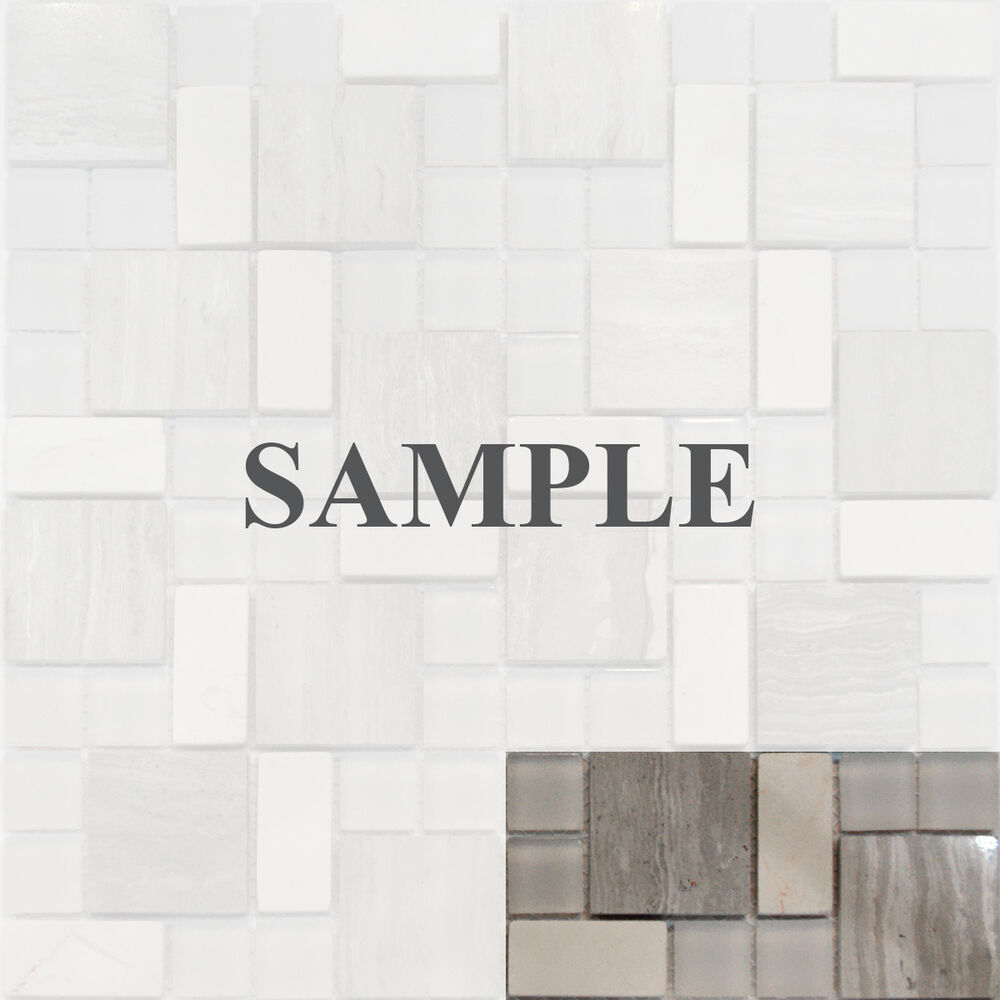 Stainless Steel Pattern Gray Glass Mosaic Tile: Sample-Square Pattern Wooden Gray Marble Stone Glass