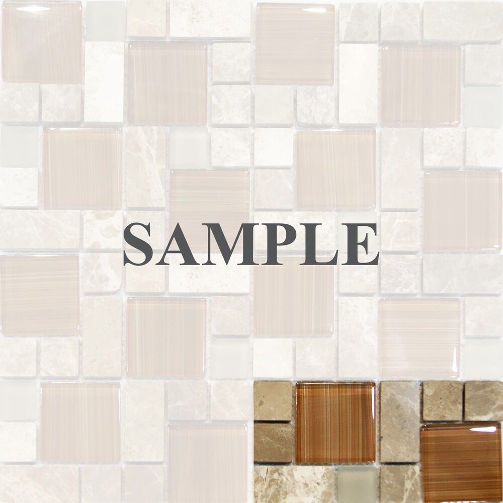 Sample Marble Green Brown Glass Linear Mosaic Tile: Sample-Square Pattern Brown Hand Paint Glass & Dark