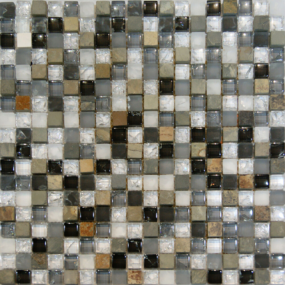 Sample White Gray Random Subway Glass Mosaic Tile Kitchen: Sample-Slate Stone & Crackle Glass White Gray Beige Mosaic