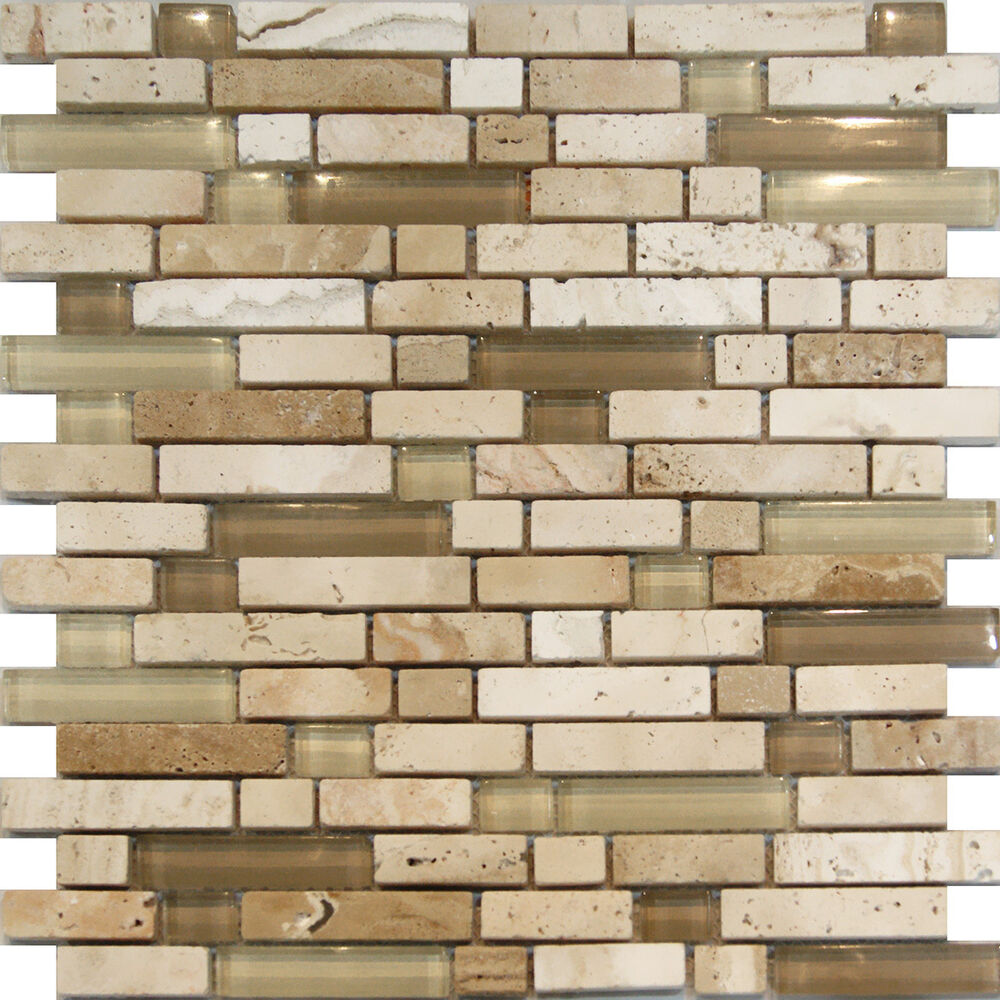 Sample Cream Crackle Glass Mosaic Tile Kitchen Backsplash: Sample-Beige Cream Glass & Travertine Linear Mosaic Tile