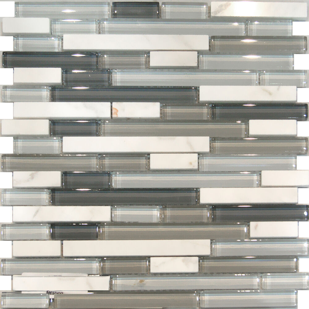 Sample Brown Glass Natural Stone Linear Mosaic Tile Wall: Sample-Carrara White Marble & Gray Glass Linear Mosaic