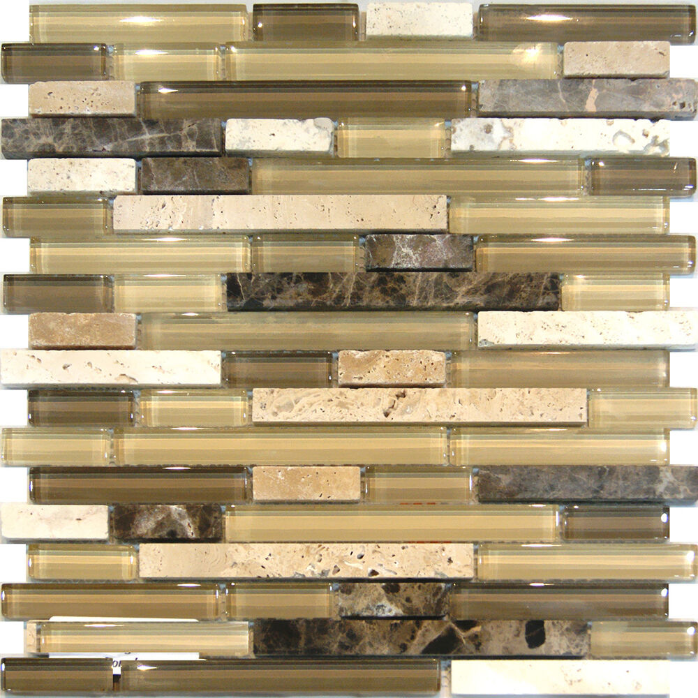 Sample-Travertine Emperador & Glass Brown Beige Mosaic Tile Backsplash Kitchen